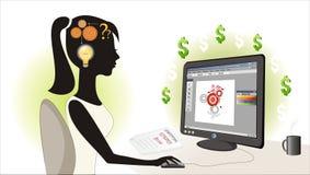 Menina que faz o projeto abstrato Imagem de Stock