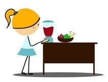 Menina que faz o suco e os batidos - cor completa Imagens de Stock