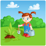 Menina que faz o trabalho do jardim Fotos de Stock Royalty Free