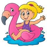 Menina que flutua no flamingo inflável 1 ilustração stock