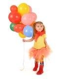 Menina que guarda balões do partido no branco fotografia de stock royalty free