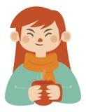 Menina que guarda a caneca quente Ilustração Stock