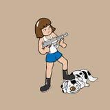 Menina que guarda desenhos animados da metralhadora Imagens de Stock