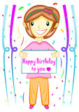 Menina que guarda desenhos animados do sinal do feliz aniversario ilustração royalty free
