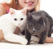 Menina que guarda dois gatos fotografia de stock royalty free