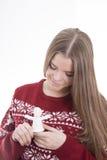 Menina que guarda o anjo Imagem de Stock Royalty Free