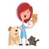 Menina que guarda o personagem de banda desenhada bonito da ilustração dos animais de estimação ilustração royalty free