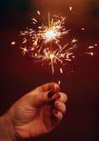 Menina que guarda um fogo de artifício ardente do chuveirinho em sua mão Fotografia de Stock