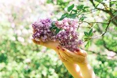 Menina que guarda um ramo do lilás fotografia de stock royalty free