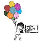 Menina que guarda uma nota e balões para o dia de Father's Fotografia de Stock