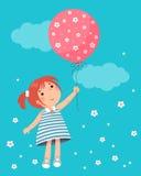 Menina que guardara o balão ilustração stock