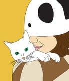 Menina que guardara o gato Imagens de Stock Royalty Free