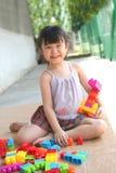 Menina que joga blocos Fotografia de Stock