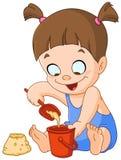 Menina que joga com areia ilustração stock