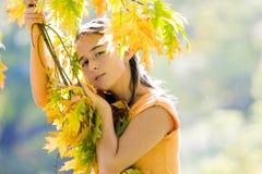 Menina que joga com as folhas Fotografia de Stock Royalty Free