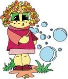 Menina que joga com bolhas de sabão Teste padrão liso do estilo, personagens de banda desenhada, isolados ilustração royalty free