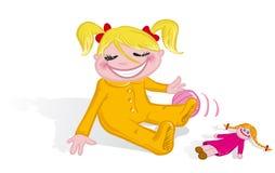 Menina que joga com brinquedos Fotografia de Stock