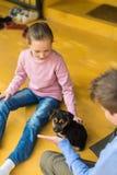 Menina que joga com cachorrinho Imagens de Stock Royalty Free