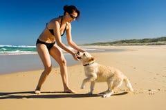 Menina que joga com filhote de cachorro Imagem de Stock