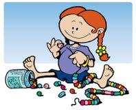 Menina que joga com grânulos Foto de Stock Royalty Free
