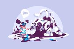 Menina que joga com o amigo robótico do cão ilustração royalty free