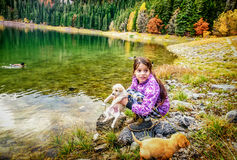 Menina que joga com os cães na costa do th do lago preto (Cr Foto de Stock Royalty Free