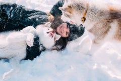 Menina que joga com os cães na neve Foto de Stock Royalty Free