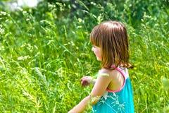 Menina que joga em um campo fotografia de stock royalty free