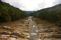 Menina que joga em um rio seco fotografia de stock
