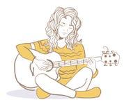 Menina que joga a guitarra Fotos de Stock