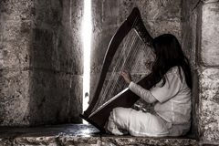 Menina que joga a harpa nas ruas fotos de stock royalty free