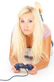 Menina que joga jogos de computador Imagem de Stock