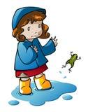 Menina que joga na poça ilustração stock