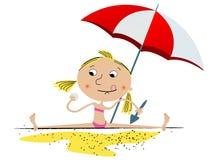 Menina que joga na praia Imagens de Stock