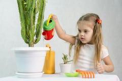 A menina derrama dos cactos de uma lata molhando Fotografia de Stock