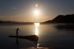 Menina que joga no log no por do sol Imagem de Stock Royalty Free