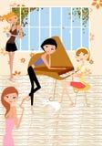 Menina que joga o piano Foto de Stock Royalty Free