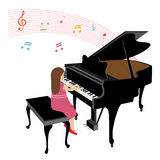 Menina que joga o piano de cauda Fotografia de Stock Royalty Free