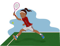 Menina que joga o tênis Fotografia de Stock Royalty Free