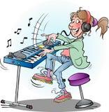 Menina que joga o teclado Fotografia de Stock Royalty Free