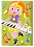 Menina que joga o teclado Imagem de Stock Royalty Free