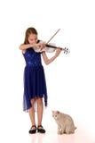 Menina que joga o violino para o gato branco home foto de stock royalty free