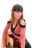 Menina que joga uma guitarra Imagem de Stock Royalty Free