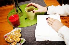 Menina que lê um livro com um copo do chá imagens de stock
