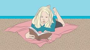 Menina que lê uma linha arte do livro ilustração do vetor