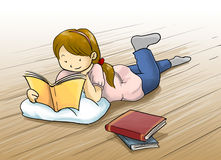 menina que lê uma ilustração dos desenhos animados do livro Foto de Stock
