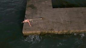 Menina que levanta na frente marítima vídeos de arquivo