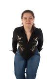 Menina que levanta no tamborete Fotografia de Stock Royalty Free