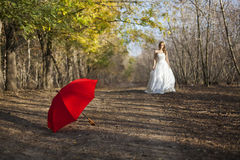 Menina que levanta no vestido de casamento Fotografia de Stock