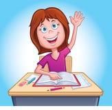 Menina que levanta sua mão na classe Fotografia de Stock